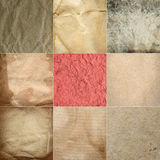 Collection of old grunge crumpled paper textures Stock Image