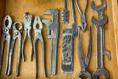 Collection of old but high quality and well maintained tools.  royalty free stock images