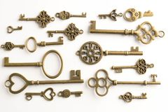 collection of old keys isolated Royalty Free Stock Images
