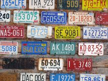 Collection of old license plates royalty free stock photography
