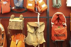 Collection of old life jackets. A collection of old life jackets at The National Lifeboat Museum Dorus Rijkers in Den Helder, The Netherlands. The museum is royalty free stock image