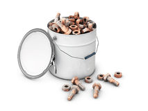 A collection of old metal nuts and bolts in a white bucket, 3d Illustration.  Stock Photos