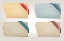 Collection of old paper banners with ribbons. Vect Royalty Free Stock Photos