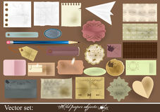 Collection of old paper objects for scrapbooking vector illustration