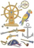 Collection of old pirate weapons and things royalty free illustration