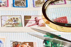 Collection of old postage stamps Stock Image