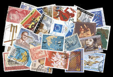 Collection of old postage stamps of Greece. Stock Photos