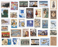 Collection of old postage stamps of Greece. Canceled postage stamps of Greece on white background Royalty Free Stock Images