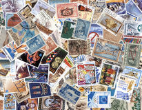 Collection of old postage stamps of Greece. Canceled postage stamps of Greece on white background Royalty Free Stock Photos