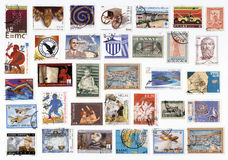 Collection of old postage stamps of Greece. Stock Photography