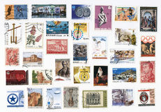 Collection of old postage stamps of Greece. Royalty Free Stock Photo
