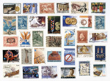 Collection of old postage stamps of Greece. Royalty Free Stock Image