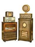 Collection of old radio's isolated on white Stock Images