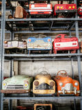 Collection of old and rusty pedal cars for kid Royalty Free Stock Photography