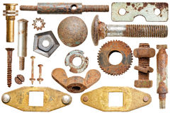 Collection old rusty screw heads and bolts Stock Images