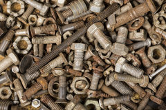 Collection old rusty screw heads bolts nuts Royalty Free Stock Images