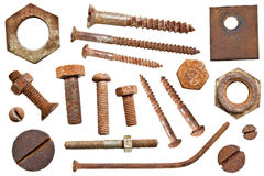Collection old rusty screw heads bolts old nail Royalty Free Stock Image
