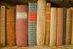 Collection of old scientific books royalty free stock image