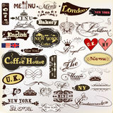 Collection of old styled vector signatures and labels cafe, coff Royalty Free Stock Photography