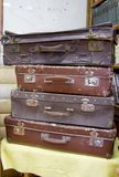 Collection of old suitcases royalty free stock image
