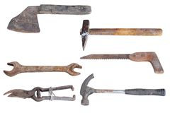 Collection of old tools Stock Photos