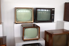 Collection of old TV receivers in Nikola Tesla Technical Museum in Zagreb Stock Image
