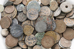 Collection of old vintage coins isolated on white.  Stock Photo