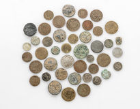 Collection of old vintage coins isolated on white. Background Stock Photography