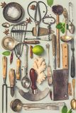 Collection of old vintage cutlery stock photography