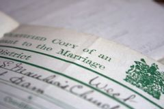 A collection of old vintage family documents. A collection of old vintage hand written family documents stock image