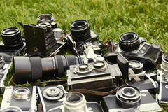 Collection of old vintage retro film analogue cameras. Royalty Free Stock Photos