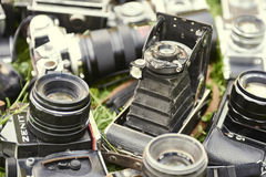 Collection of old vintage retro film analogue cameras. Stock Photos