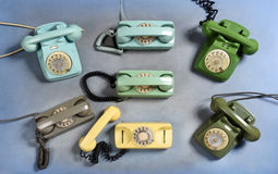 Collection of old vintage rotary telephones Royalty Free Stock Photography