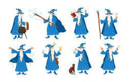Collection of old wizard making magic isolated on white background. Bundle of elderly sorcerers or fairytale magicians. Practicing wizardry. Colorful vector stock illustration
