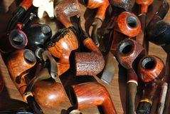 The old wooden pipes Stock Images