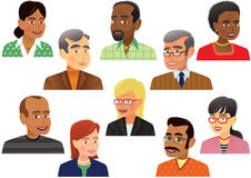 Collection of older people heads. An illustration of ten different and unique people. E.P.S. 10 vector file included with image, isolated on white Royalty Free Stock Images