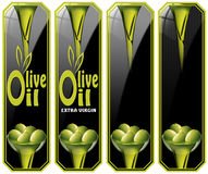 Collection of Olive Oil Labels Stock Image