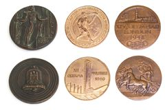 Collection of Olympic Games Participation medals reverse and obverse. Berlin 1936, Helsinki 1940, London 1948. Kouvola Finland 08. Collection of Olympic Games Stock Photography