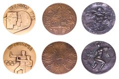 Collection of Olympic Games Participation medals reverse and obverse. Helsinki 1952, Melbourne 1956, Roma 1960. Kouvola Finland 08. 04.2018 Royalty Free Stock Photos
