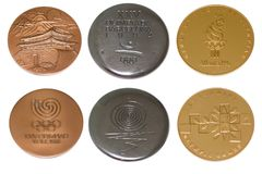 Collection of Olympic Games Participation medals reverse and obverse. Seoul 1988, Barcelona 1992, Athlanta 1996. Kouvola Finland 0. 8.04.2018 Royalty Free Stock Image