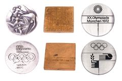 Collection of Olympic Games Participation medals reverse and obverse. Tokyo 1964, Mexico 1968, Munich 1972. Kouvola Finland 08.04. 2018 Stock Photos