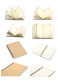 Collection of open notebook- blank pages on white. Royalty Free Stock Photos
