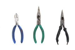 Collection of open pliers Royalty Free Stock Photo