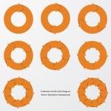 Collection of orange color arrow circle flows. vector. EPS 10 Stock Photo