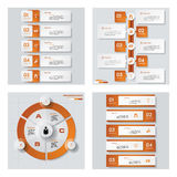 Collection of 4 orange color template/graphic or website layout. Vector Background. Stock Image