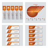 Collection of 4 orange color template/graphic or website layout. Vector Background. Royalty Free Stock Photo