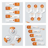 Collection of 4 orange color template/graphic or website layout. Vector Background. Royalty Free Stock Photography