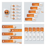 Collection of 4 orange color template/graphic or website layout. Vector Background. Royalty Free Stock Photos