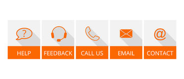 Collection of orange contact buttons with long shadow Royalty Free Stock Photography