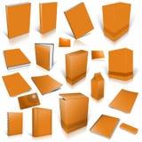 Collection orange de cache 3d blanc Image stock